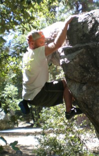 Peter Hoffmeister climbing in Yosemite's Camp 4