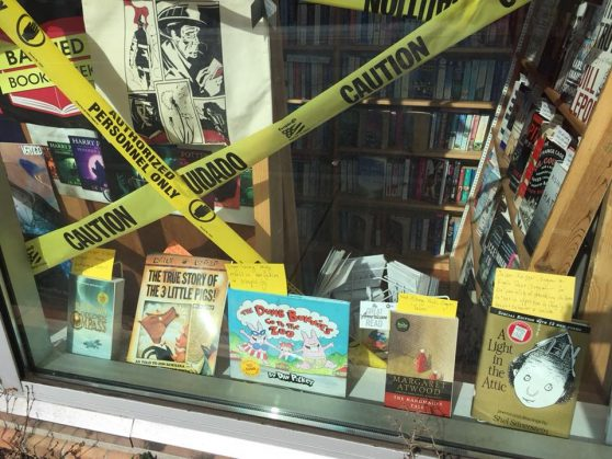 Bob's Beach Books Banned Books Week window with A Light in the Attic on display