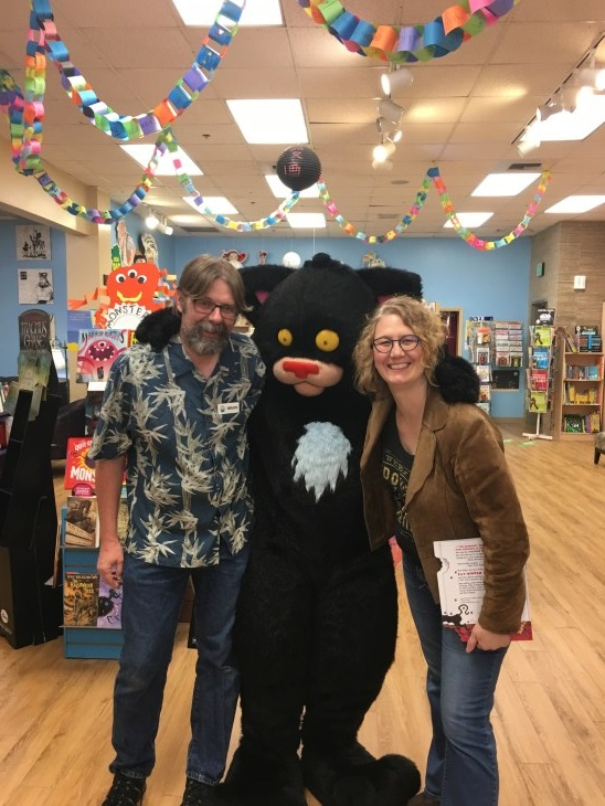 Bruce and Laura Delaney with Bad Kitty at Rediscovered Books